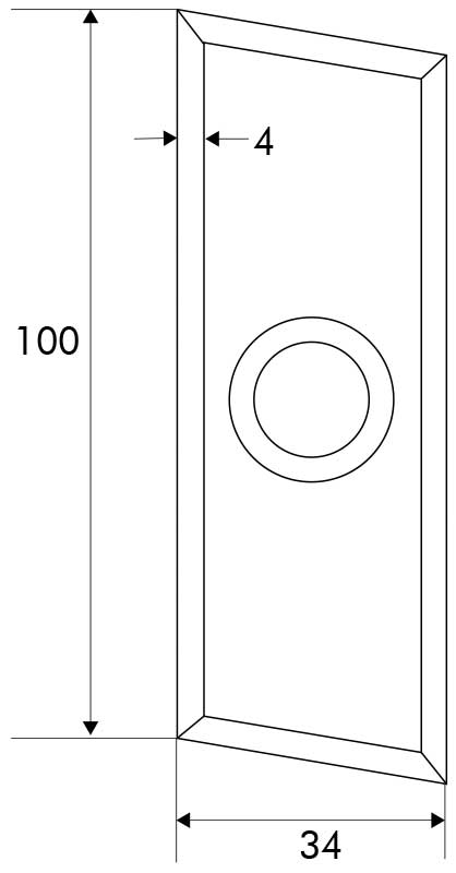 Designmitrenas PZ-Kratzschutzrosette Parallelogramm Maße