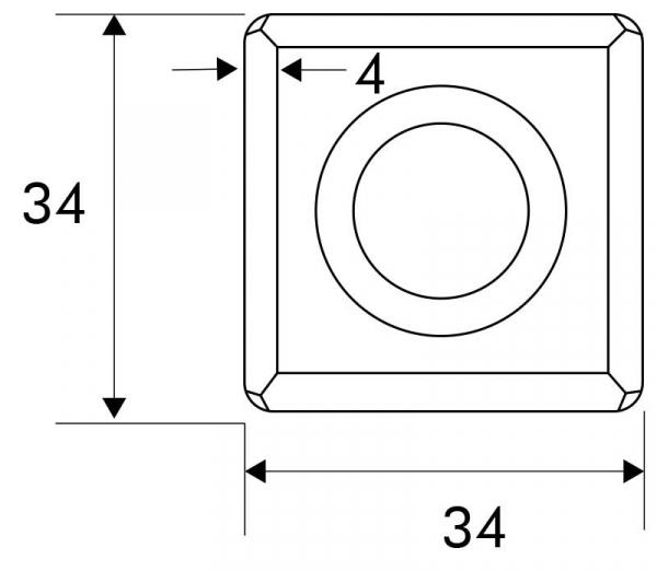 Designmitrenas PZ-Kratzschutzrosette Tetragono-Maße